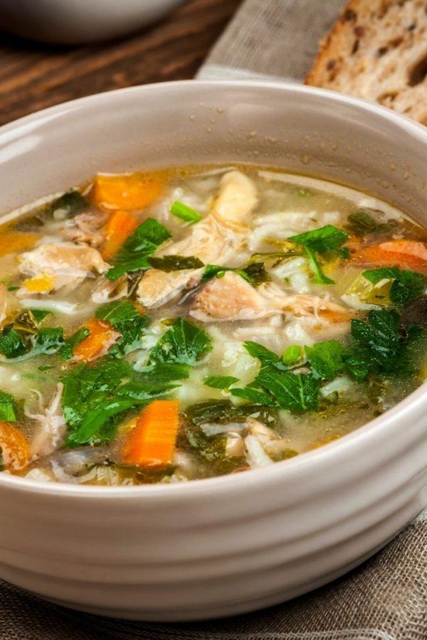 Veggie Soup in an earthenware bowl