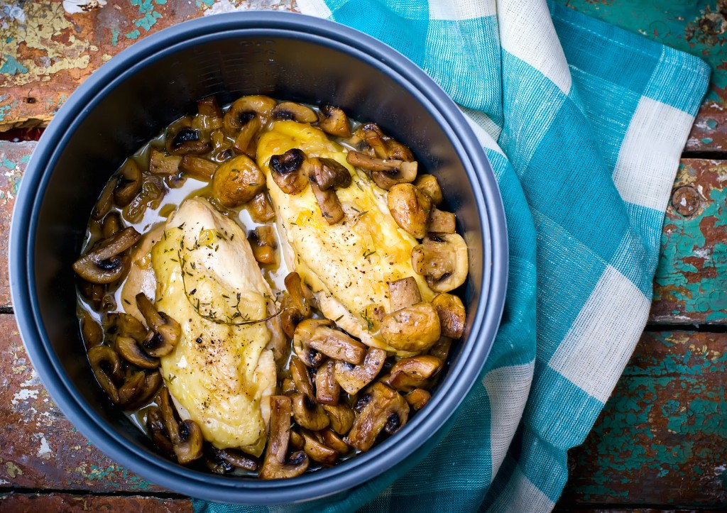 stewed chicken breast with mushrooms in the crock-pot.