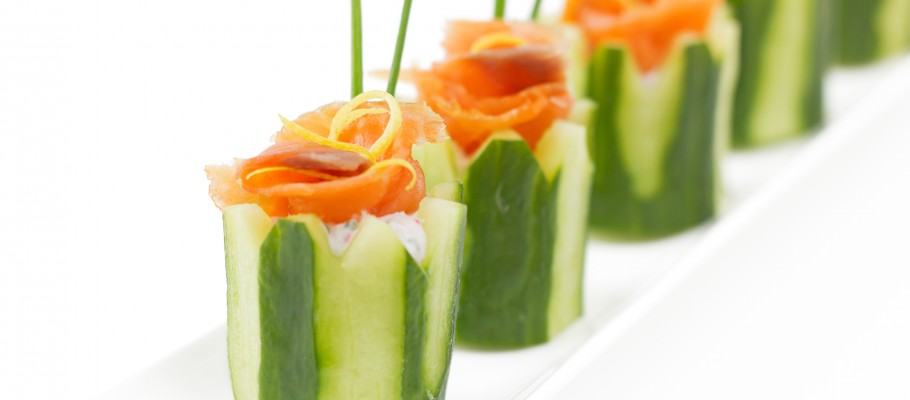 Salmon and cucumber appetizer