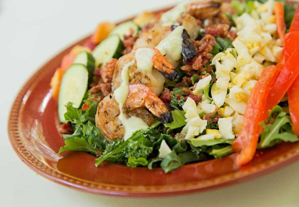 Shrimp Cobb Salad with Avocado Dressing