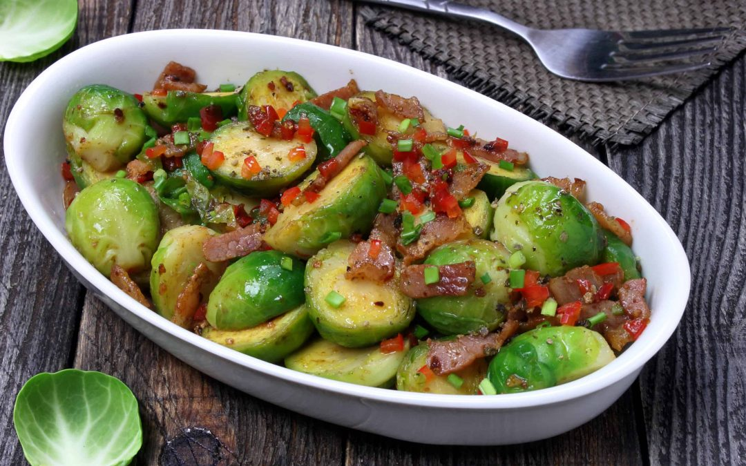 Brussels Sprouts with Bacon and Red Onion