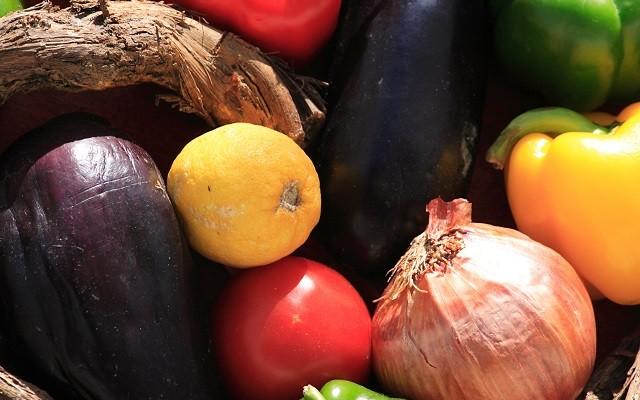 A basket of vegetables outdoor