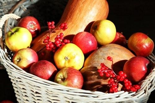 Juicy apples and pumpkins close-up