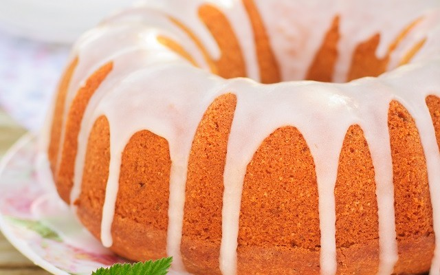 Summer Bundt Cake with Topped with Sugar Glaze, close up, square
