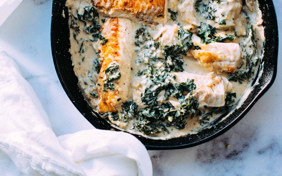 Pan-Seared Salmon with Coconut-Herb Greens