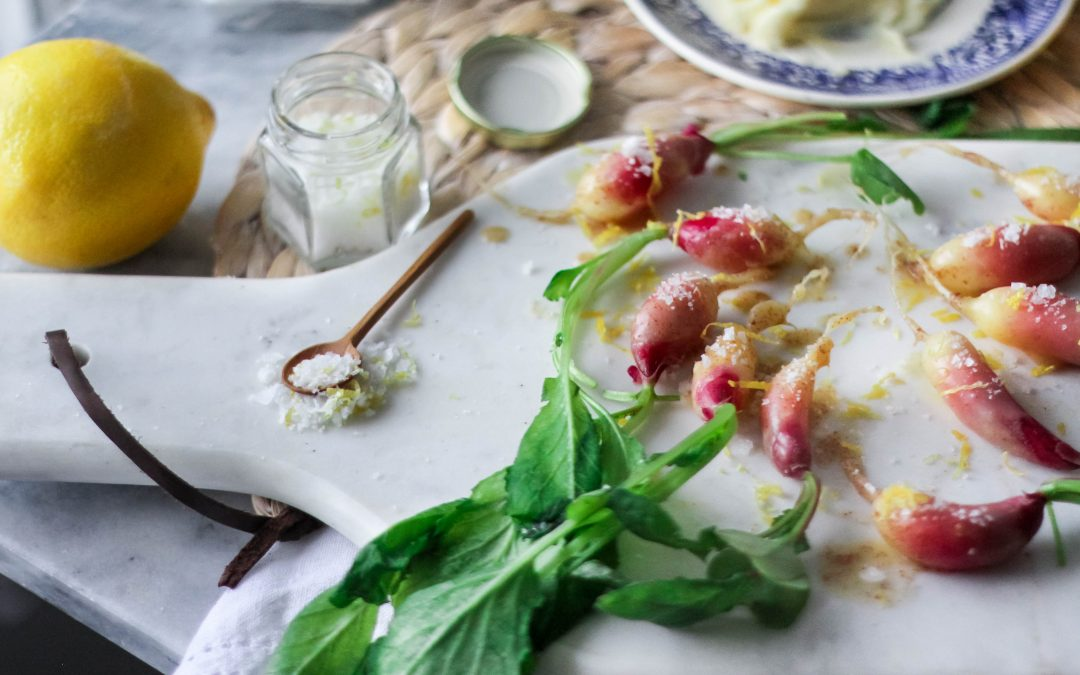 Brown Butter Dipped Lemony Radishes