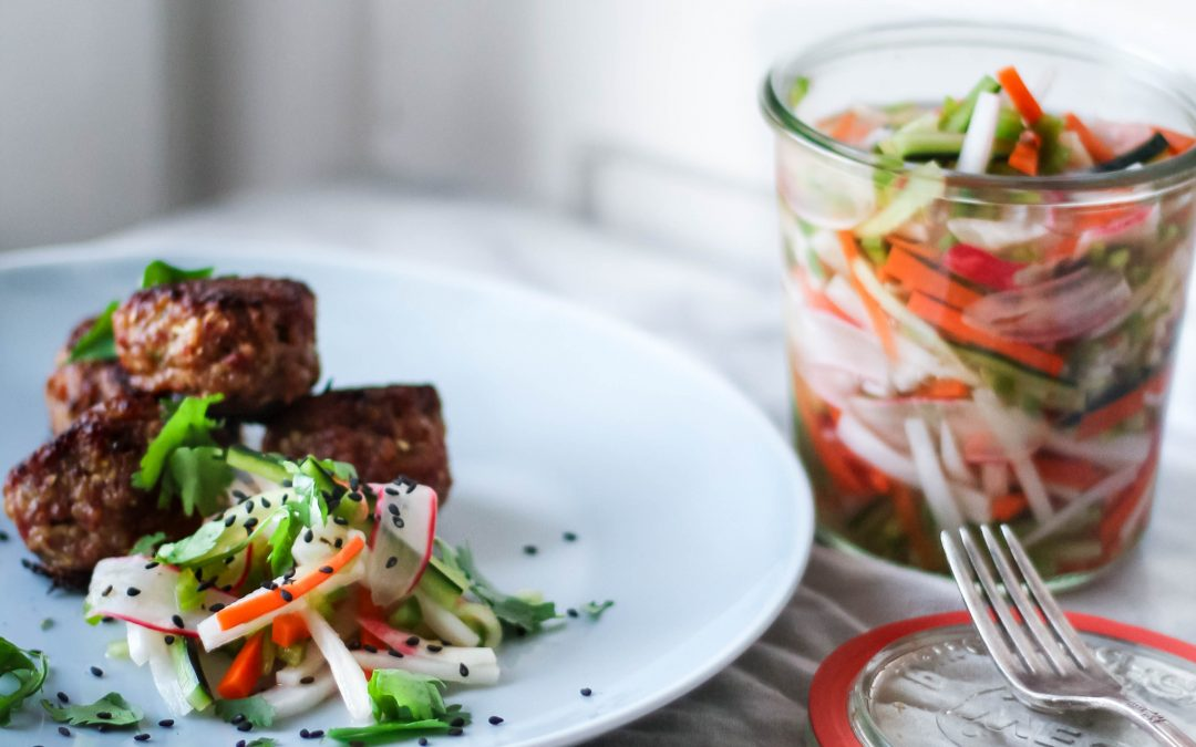 Pork Dumpling Meatballs with Quick Pickled Bahn Mi Slaw