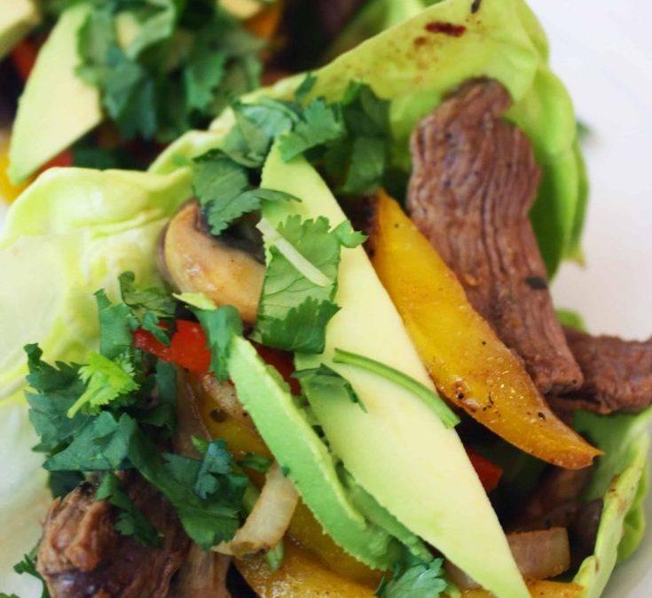 Skillet Fajita Lettuce Wraps