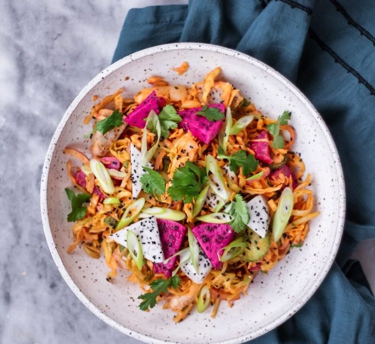 Curried Dragonfruit and Chicken Salad
