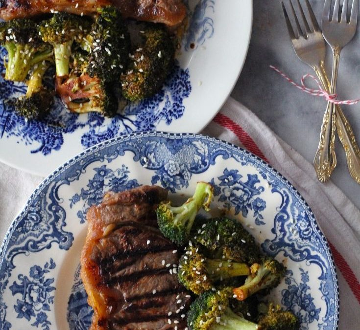 Ginger Glazed Steaks and Broccoli