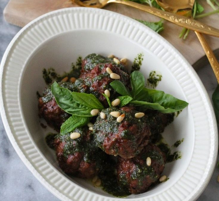 Italian Meatballs with Basil-Mint Pesto