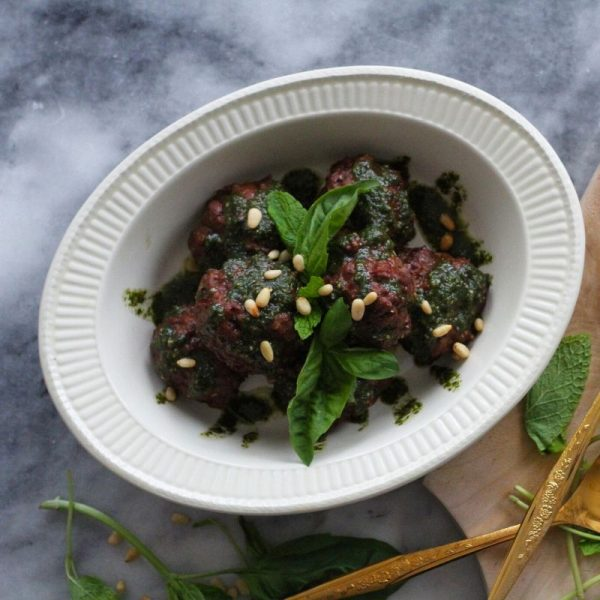 ITALIAN MEATBALLS WITH BASIL-MINT PESTO - Square