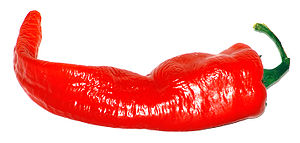 A large red cayenne pepper