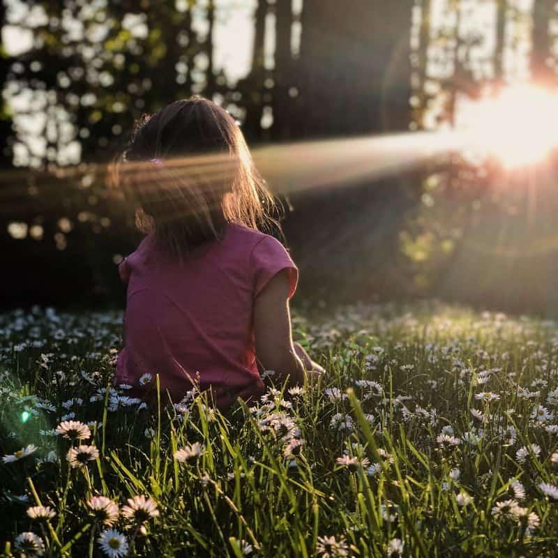Little girl enjoying sunlight in a field rimmed by trees